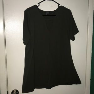 Plus size t shirt with cut out on chest